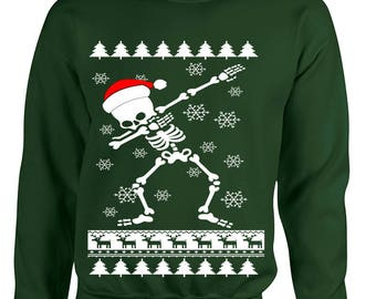 Ugly Christmas Sweatshirt Dabbing Skeleton Dab Ugly Xmas Gift Adult Sweatshirt
