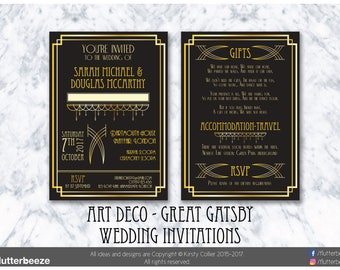 Art Deco wedding, Great Gatsby invites, 1920's wedding, black and gold, black & silver, printed invitations, personalised invites, x30-x200