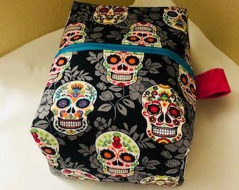 Large sugar skull boxy makeup bag