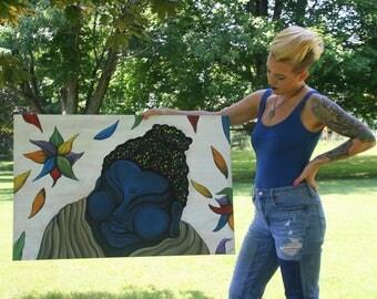 Buddha Painting - Blue Buddha Painting - Acrylic Painting - Original - Abstract Painting