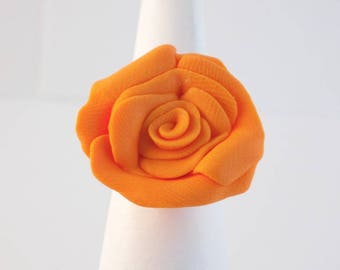 Orange Rose Silver Adjustable Ring