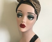 Cotton Bandana - Animal print, 1940s/50s cotton tie-up headscarf for easy vintage hair.