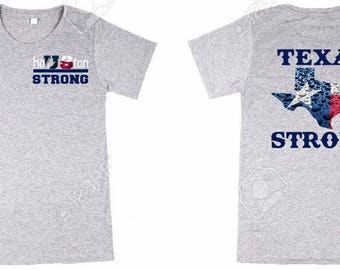 Houston Strong with Texas Strong Female Bella Canvas Soft T Shirt