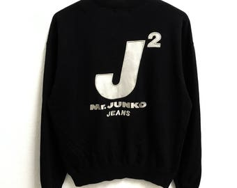 RARE!!!! Mr. Junko Jeans Big Logo Embroidery Crew Neck Black Colour Sweatshirts Hip Hop Swag M Size