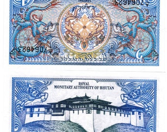 Two (2) Beautiful Colorful Bhutan 1 Ngultrum Bank Notes 1986 - Uncirculated