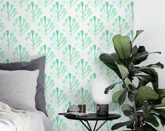 Boho decal, Leaves wallpaper, Removable wallpaper, Watercolor pattern, BW062