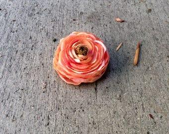 Peach ranunculus silk flower hair clip