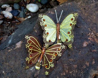 Sparkly Silk Butterfly Hair Clips, sold in set of one green and one brown