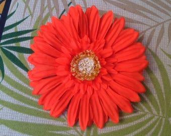Tropical Orange Gerbera Daisy Silk Flower Hair clip