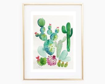 Cactus painting, cacti watercolor painting, watercolor painting, watercolor cacti, cactus art, cactus home decor
