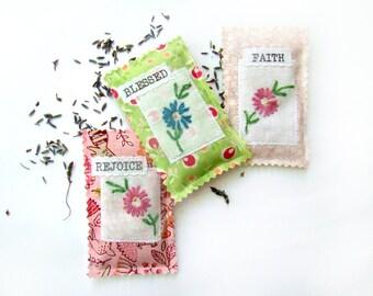 Lavender Sachets, Vintage Embroidery Sachets, Set of Three, Hostess Gift, Linen Sachet, Drawer Sachet, Small Gift, Vintage Textile
