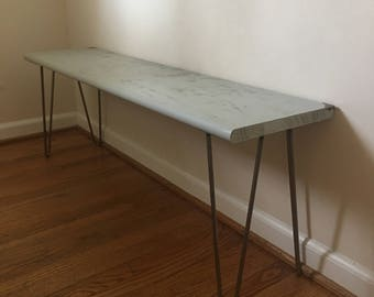 Multipurpose Wood Bench / Thin Coffee Table with Steel Hairpin Legs