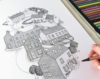 COLOUR IN PRINT - black & white, detailed houses illustration. Architectural line drawing, adult colouring, colour your own wall art