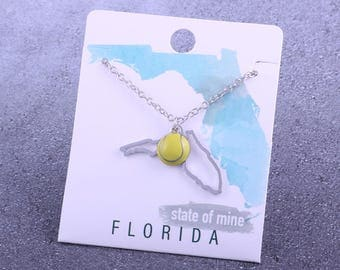 Customizable! State of Mine: Florida Tennis Enamel Necklace - Great Tennis Gift!