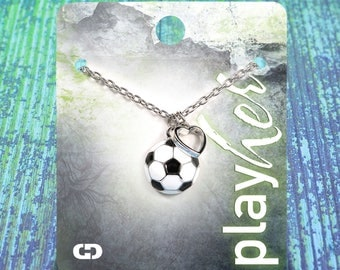 Customizable Soccer Heart Enamel Necklace - Personalize with Jersey Number, Heart Charm, or Letter Charm! Great Soccer Gift!