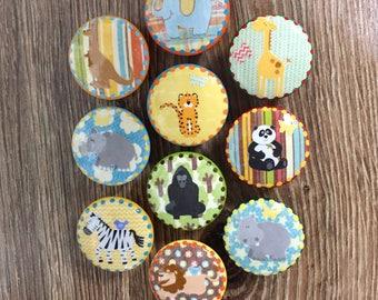 Baby nursery Zoo safari animals, orange, blue, yellow, gender neutral,1.5 inch dresser drawer knobs cabinet pulls