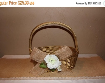 ON SALE Gold Wedding Basket / Wedding Favor Basket / Gold Wedding Decor / Program Basket