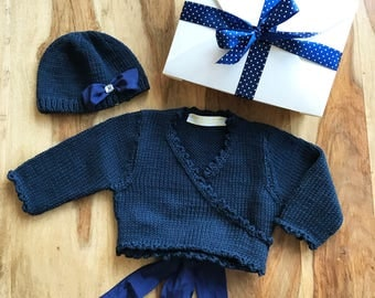 Baby Gift Set Ballet Wrap Baby Cardigan Navy Blue Baby Cardigan Hand Knitted Baby Hat
