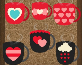 Valentine Mug Clipart with steam, PNG, Personal & Commercial Use, Instant Download!