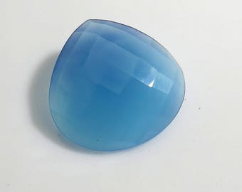 23Ct 25X25X5mm Blue Chalcedony Loose Gemstones Heart Shape Rose Cut Blue Chalcedony Gemstones - Top Quality Natural Chalcedony Faceted Gems