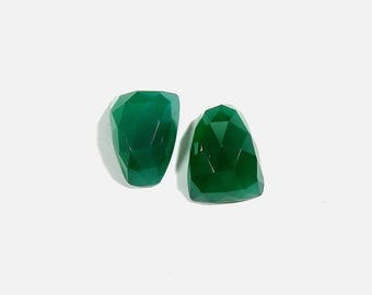18Cts 16X12X6mm Green Chalcedony Rose Cut Loose Gemstones Natural Top Quality Green Chalcedony For Jewelry Making 2 Pieces Pair