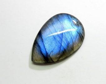 30Cts 31X22X5mm Natural Labradorite Cabochon Loose Gemstones Pear Top AAA Blue Fire Labradorite Gemstones Labradorite Jewelry Making