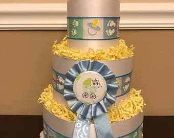 Diaper Cake Blue Boys Pampers Baby Shower Centerpiece