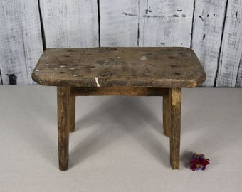 Antique Wooden Stool / Rustic Wooden Bench / Large Wooden Stool / Vintage  Bench Farmhouse /