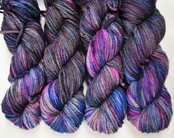 Cozy Bulky, hand dyed yarn, handdyed yarn, hand dyed bulky yarn, hand painted yarn, bulky yarn, bulky weight, Galaxy