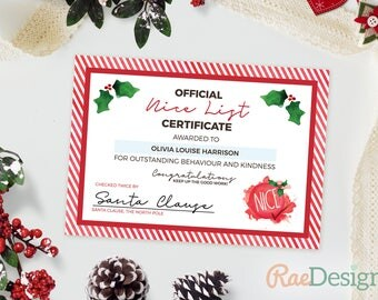 Santa certificate etsy nice list certificate template christmas certificate letter to santa printable letter instant yelopaper Gallery