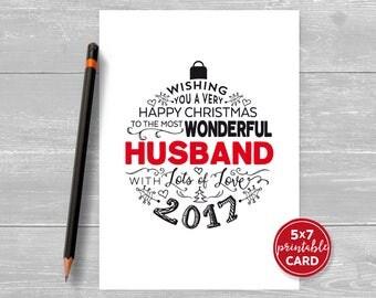 "Printable Christmas Card - Happy Christmas To The Most Wonderful Husband 2017 - 5""x7"" plus printable envelope template."