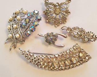 Vintage rhinestone brooch lot