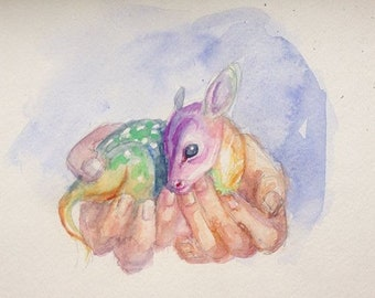 Fawn watercolor study