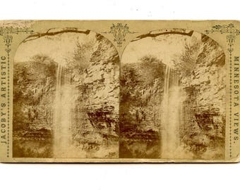 Stereoview Card, Minnesota Views, Fawn's Leap, Jacoby's Artistic views series, oversize artistic mount