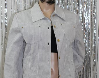 Charming Blue & White Jones New York Signature Cotton Jacket (M)