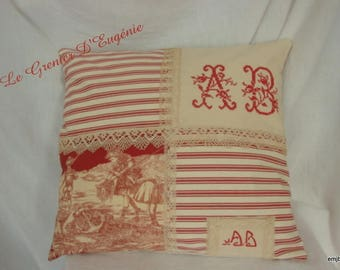Embroidered Pillow, French toile de Jouy, striped and Monogram * AB *.