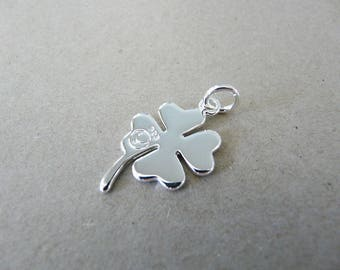 charm clover 4 leaf 2.8 cm silver plated