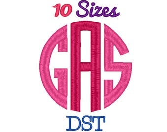 Circle Monogram Embroidery Font Machine Embroidery Fonts DST Format File Pack Set 10 Sizes Digital Embroidery Design Instant Download