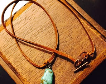 Clapping Hands Turquoise Stone Leather Necklace
