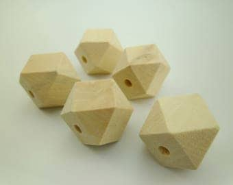 10pcs Large Schima Superba Wood Faceted Beads Natural for Necklaces Paint Light Weight Eco-friendly Lead Nickel Chromium Free 0600-0008