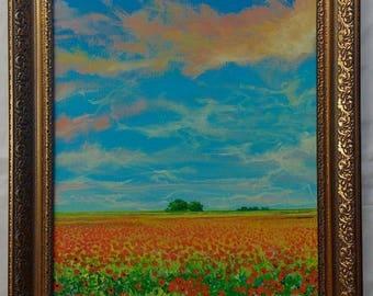 Wild Poppies Original Acrylic  Painting Framed Landscape Trees Flowers Vibrant Sky Art Realism
