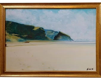 Cornish Mist Original Oil Painting Framed Seascape Cornwall Rocks Footprints In The Sand