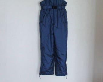 Navy Blue Vintage 90's Ski Suit Winter Overalls Hipster Snow Pants Warm Snowsuit Windbreaker Pants Man Woman Unisex Small Size