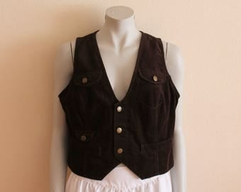 Brown Vest Corduroy Vest Brown Women's Vest Fitted Women Waistcoat Sleeveless Jacket Bohemian Country Cottage Chic Extra Large Size