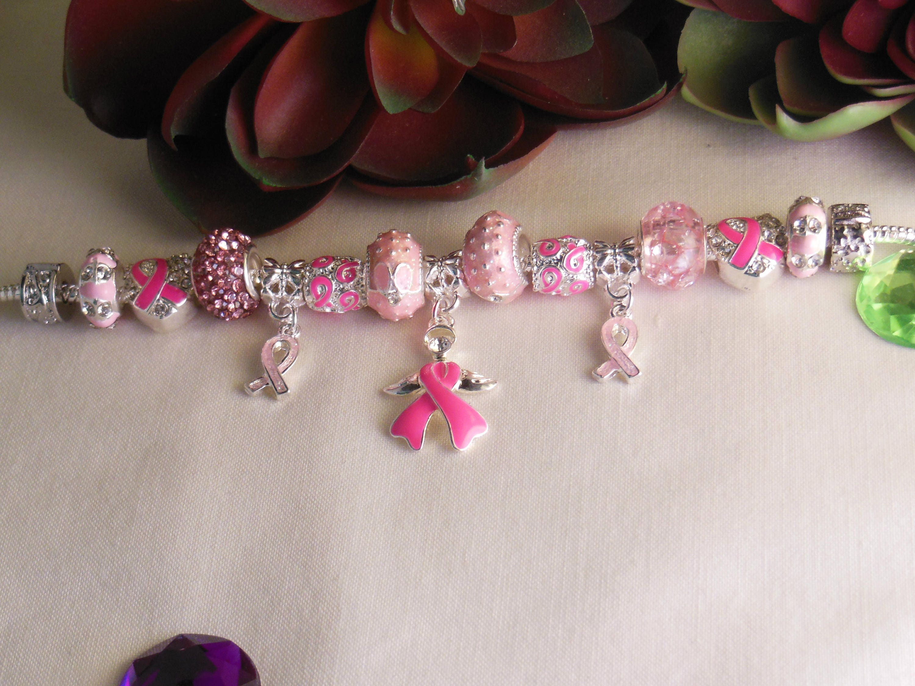 charm hope jewelry ribbon bracelet strength pin breast survivor cancer pink courage