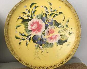 Hand-painted Yellow Toleware Tray