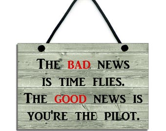 Time Flies and You're The Pilot Fun Hanging Home Sign/Plaque 091