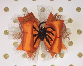 Halloween Hair Bow. 6 inch Orange Hair Bow. Spider Hair Bow.