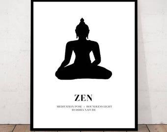 Buddha Print, Zen Decor, Buddha Art, Meditation Print, Buddha, Zen Print