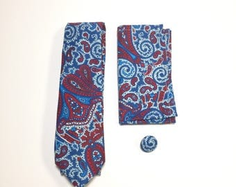 Men's tie, Blue Pocket Square, blue tie, paisley tie, lapel pin, wedding accessory, holiday gift, Suit Accessory, Hand made, groomsmen gift